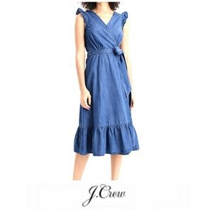 J. Crew Grand Lily Ruffle Chambray Wrap Dress